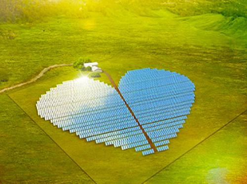 ferma solară in forma de inimă